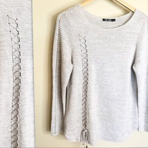 Nic & Zoe Light Gray Sweater with lace up Detail